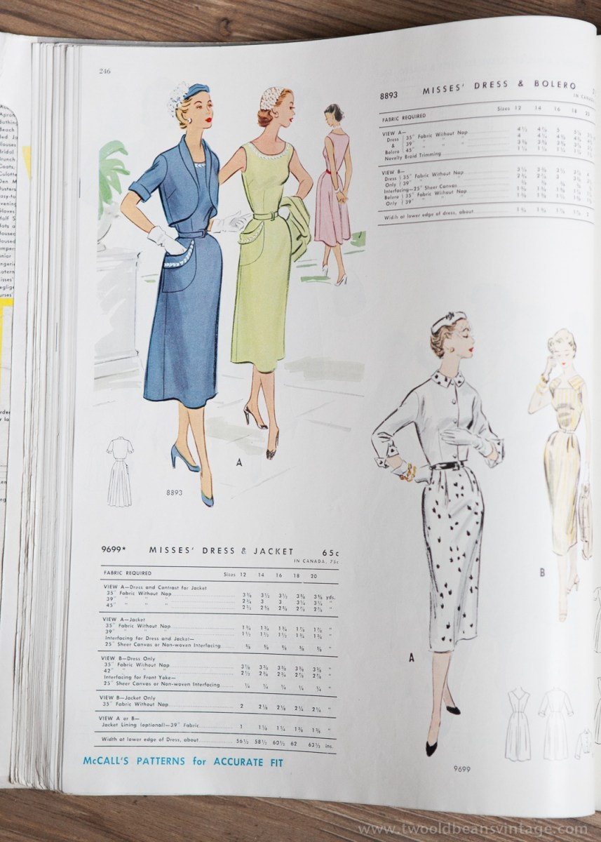 8893 + 9699 Mccalls 1954 Winter Vintage Pattern | 1950s Two Old Beans Vintage Clothing