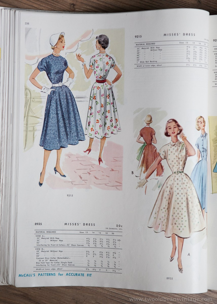 9215 + 8935 Mccalls 1954 Winter Vintage Pattern | 1950s Two Old Beans Vintage Clothing