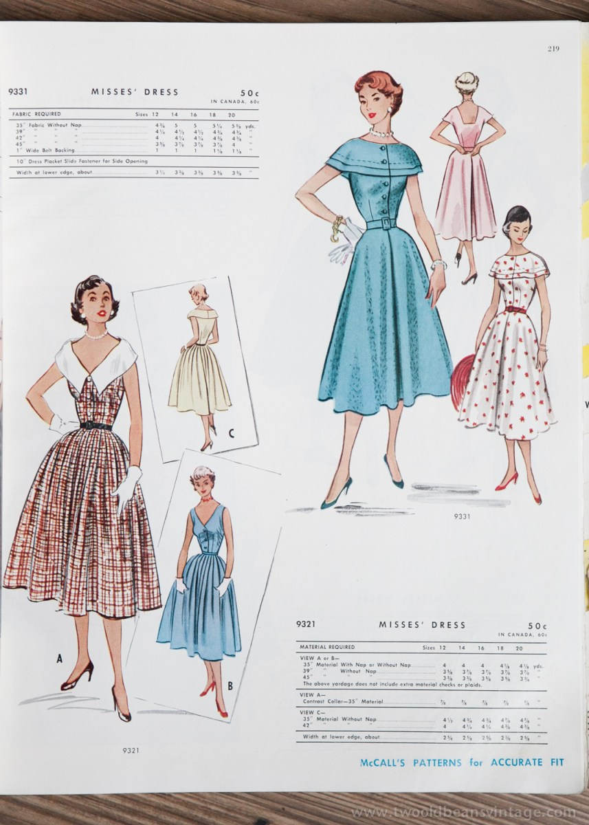 9331 + 9321 Mccalls 1954 Winter Vintage Pattern | 1950s Two Old Beans Vintage Clothing