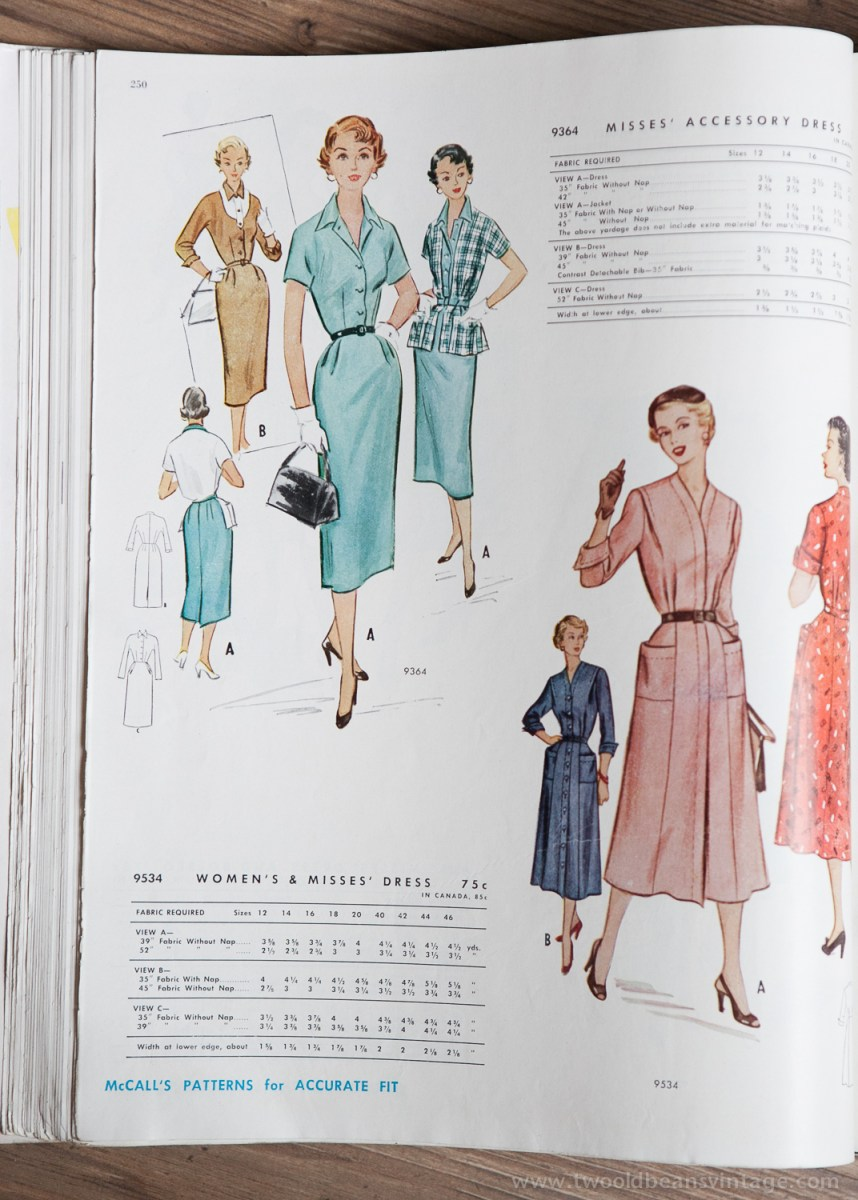 9364 + 9534 Mccalls 1954 Winter Vintage Pattern | 1950s Two Old Beans Vintage Clothing