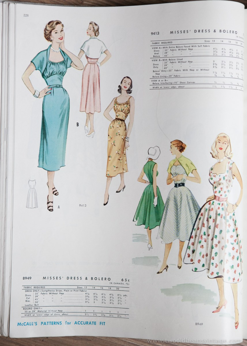9413 + 8949 Mccalls 1954 Winter Vintage Pattern | 1950s Two Old Beans Vintage Clothing