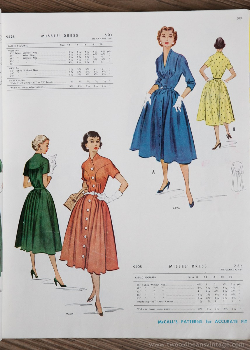 9426 + 9405 Mccalls 1954 Winter Vintage Pattern | 1950s Two Old Beans Vintage Clothing