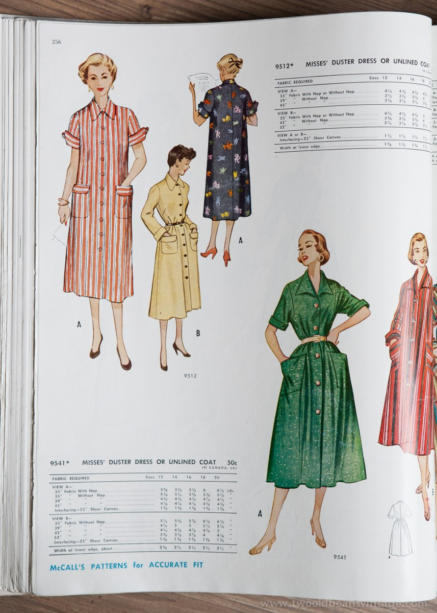 9512 + 9541 Mccalls 1954 Winter Vintage Pattern | 1950s Two Old Beans Vintage Clothing