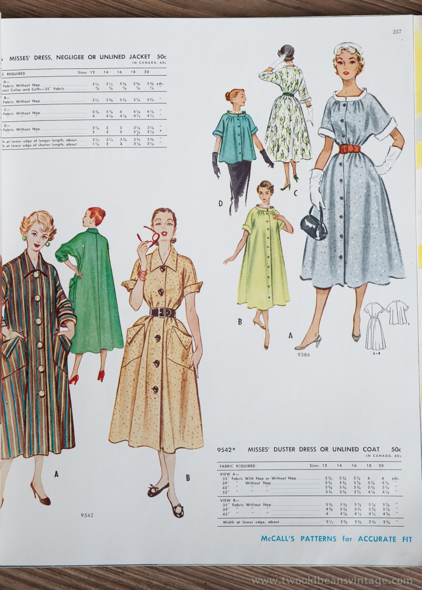 9542 Mccalls 1954 Winter Vintage Pattern | 1950s Two Old Beans Vintage Clothing