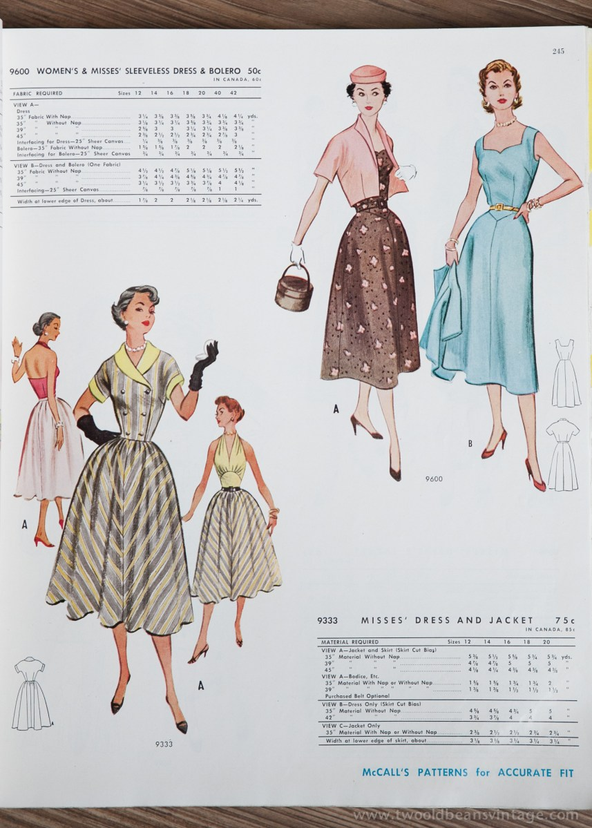 9600 + 9333 Mccalls 1954 Winter Vintage Pattern | 1950s Two Old Beans Vintage Clothing