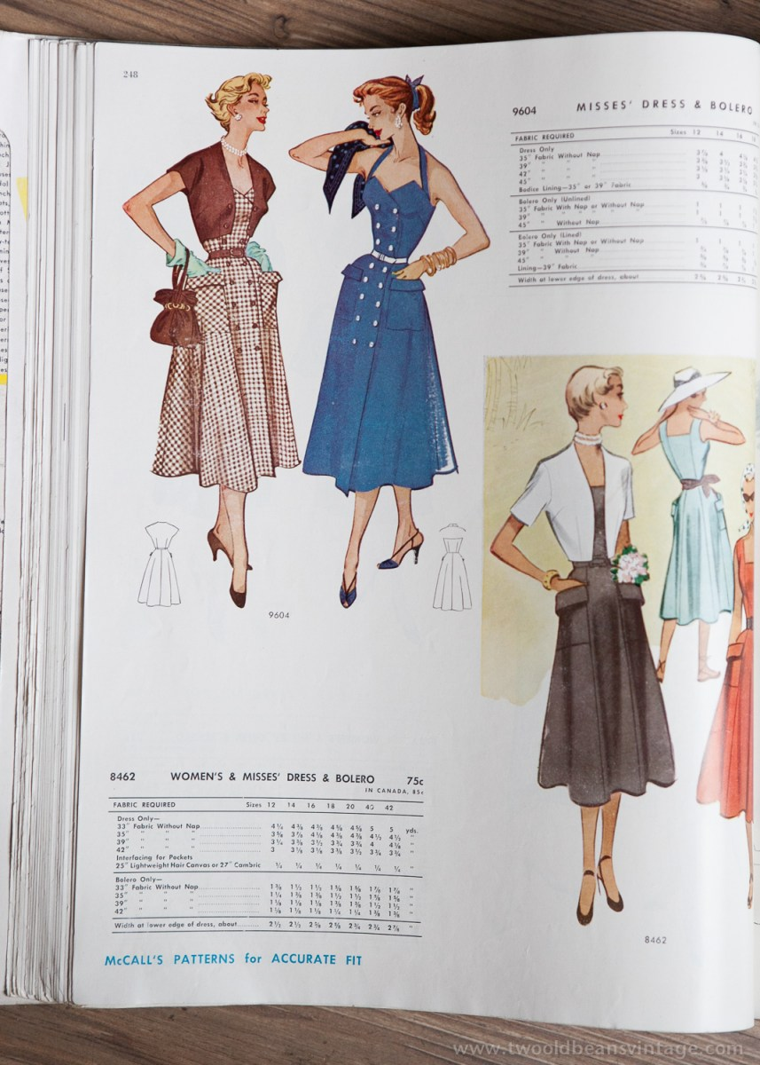 9604 + 8462 Mccalls 1954 Winter Vintage Pattern | 1950s Two Old Beans Vintage Clothing