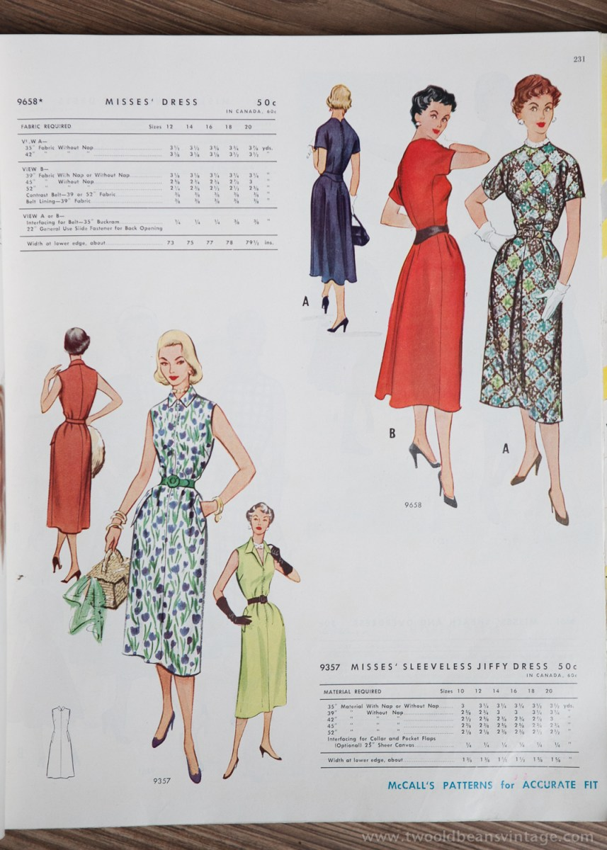 9658 + 9357 Mccalls 1954 Winter Vintage Pattern | 1950s Two Old Beans Vintage Clothing