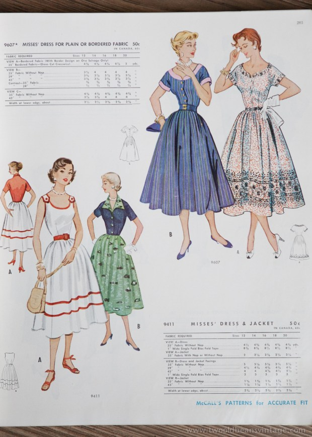 9706 + 9411 Mccalls 1954 Winter Vintage Pattern | 1950s Two Old Beans Vintage Clothing