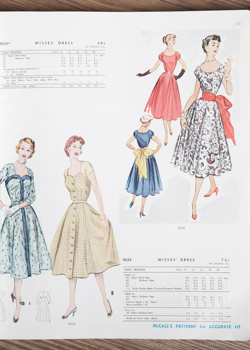 9742 + 9633 Mccalls 1954 Winter Vintage Pattern | 1950s Two Old Beans Vintage Clothing