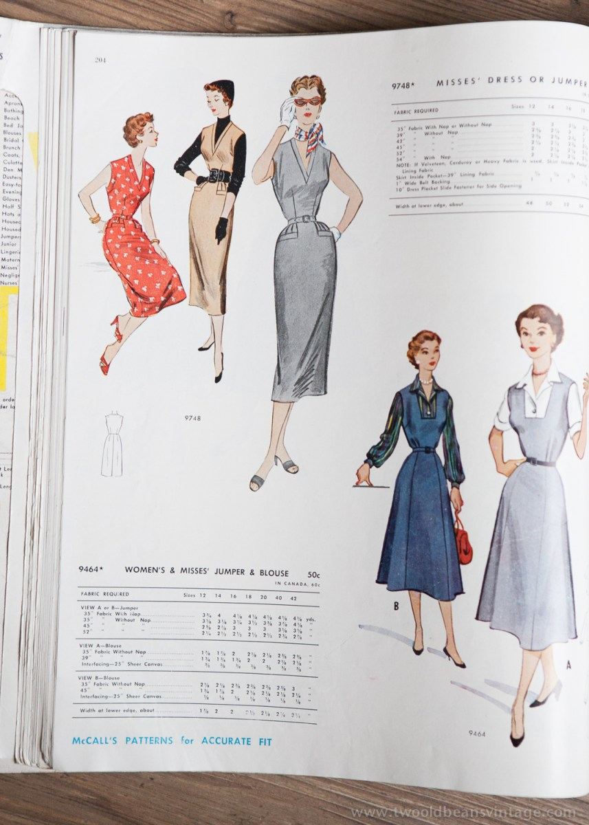 9748 + 9464 Mccalls 1954 Winter Vintage Pattern | 1950s Two Old Beans Vintage Clothing