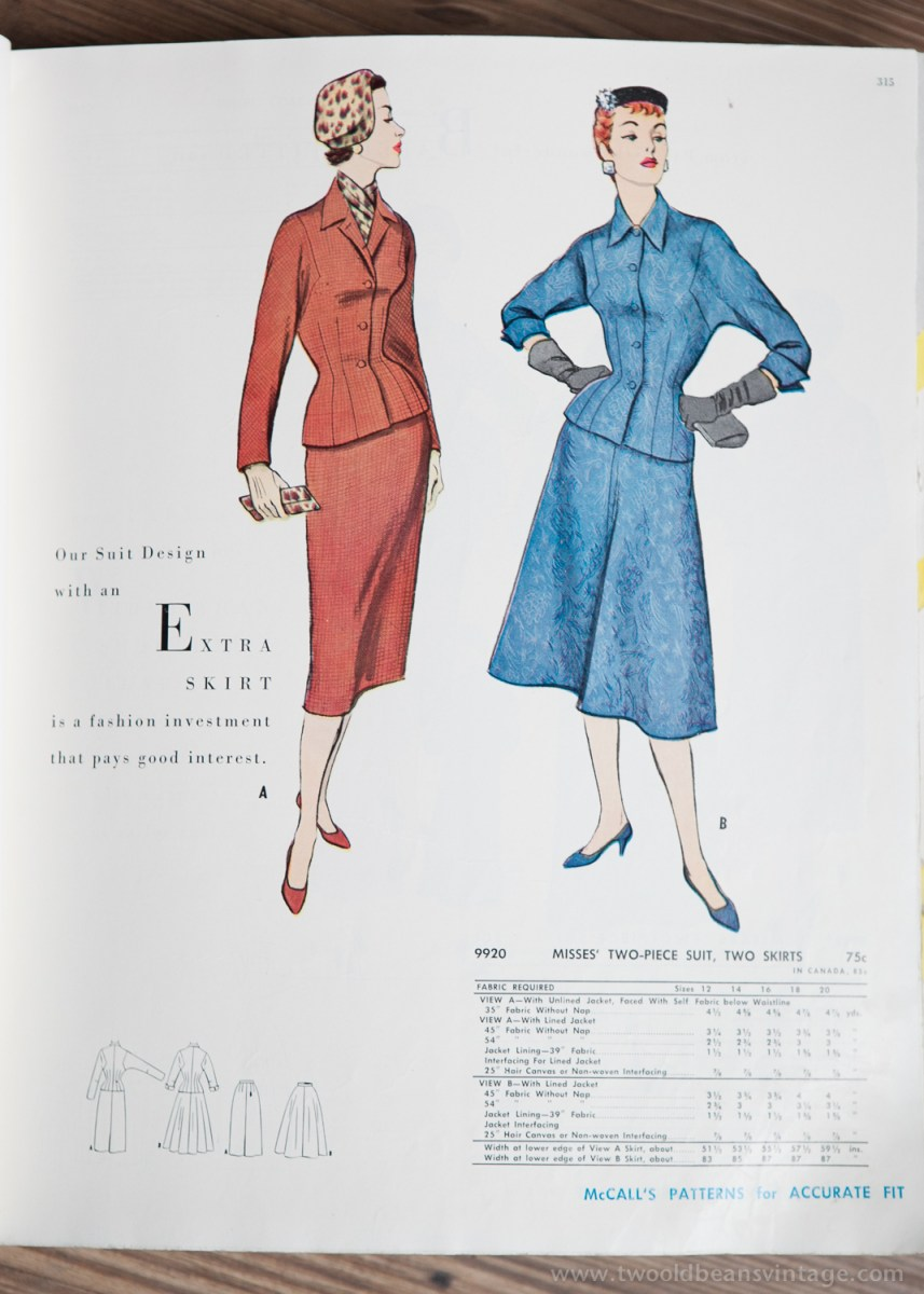 9920 Mccalls 1954 Winter Vintage Pattern | 1950s Two Old Beans Vintage Clothing