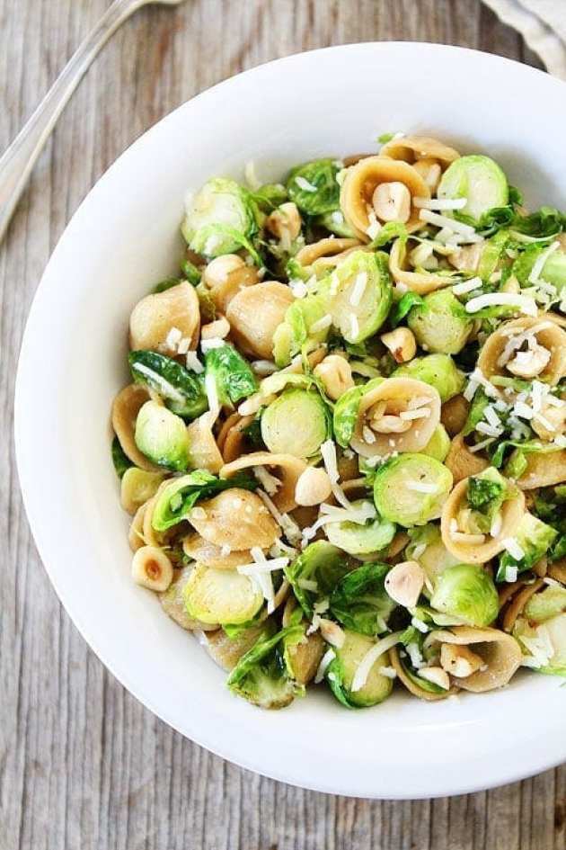 Brown Butter Brussels Sprouts Pasta with Hazelnuts Recipe on twopeasandtheirpod.com This pasta dish is amazing!