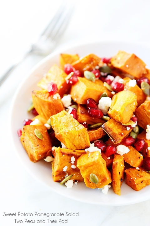 Sweet Potato Pomegranate Salad Recipe on twopeasandtheripod.com. This healthy salad is perfect for any holiday meal!