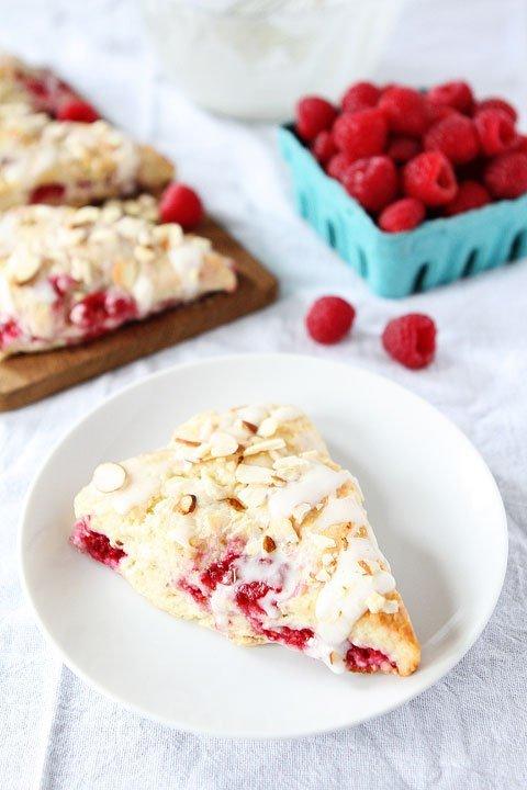 Raspberry Almond Scone Recipe on twopeasandtheirpod.com My favorite scones!