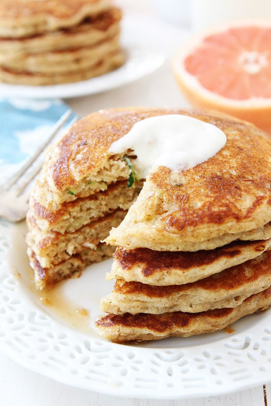the pancakes remind me of zucchini bread but in pancake form top