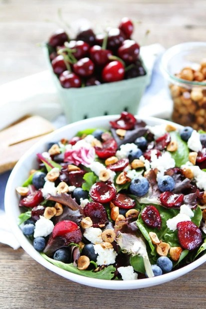photo of grilled chicken salad with cherries