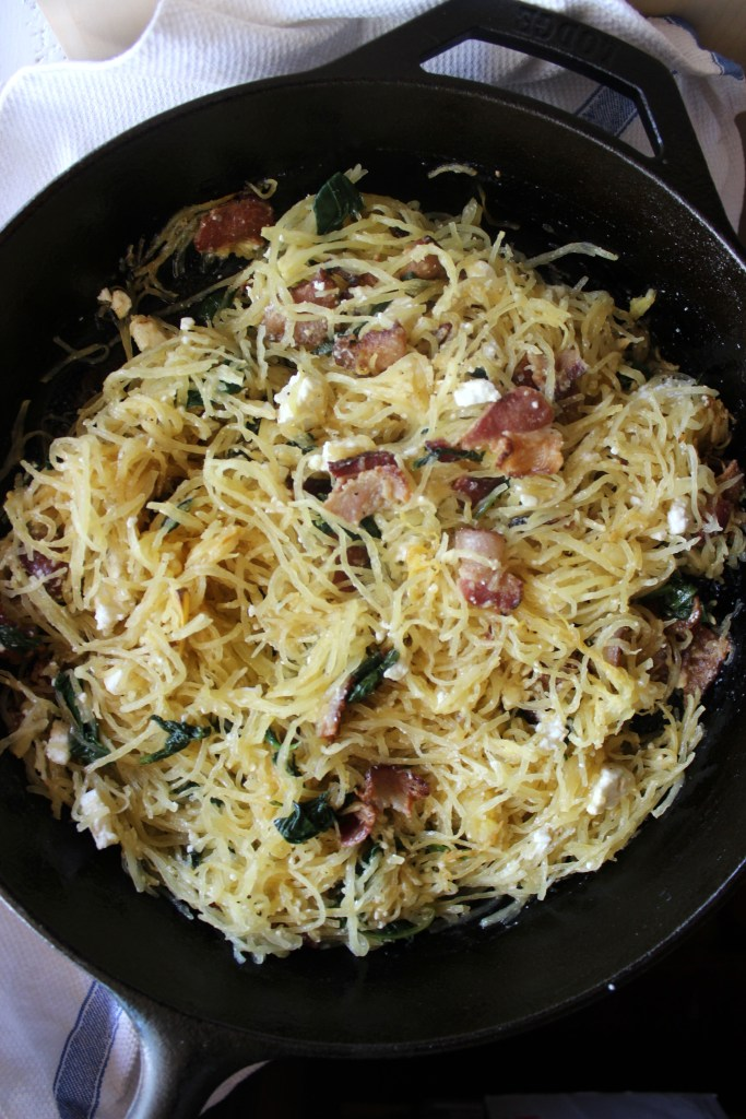 Spaghetti Squash with Spinach, Bacon and Cheese