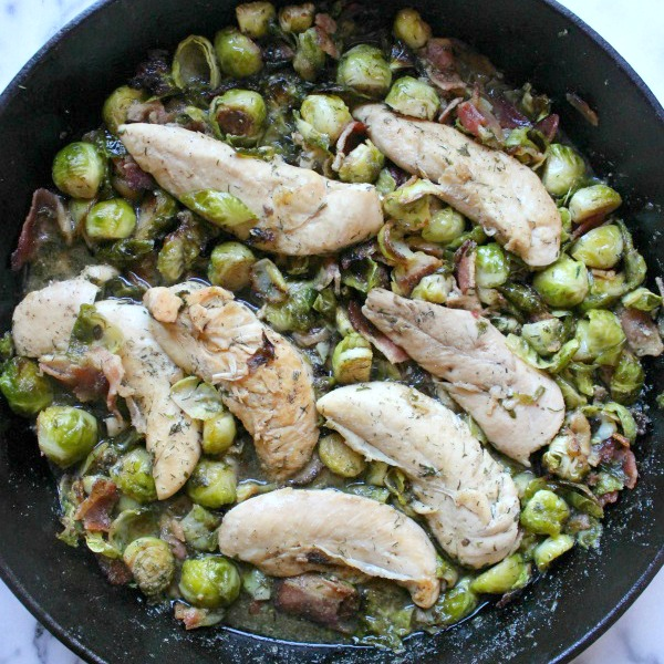 Ranch Chicken, Brussels Sprouts and Bacon Skillet