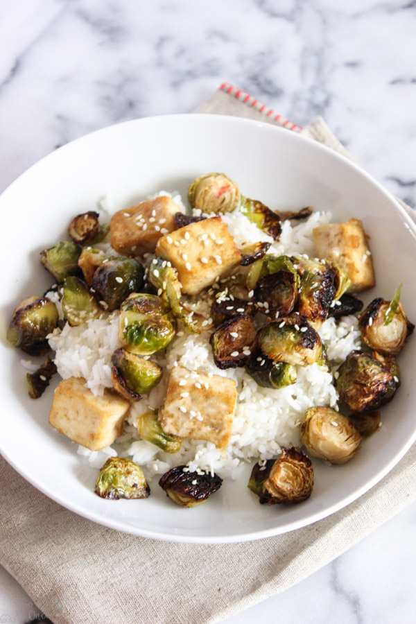 Asian Roasted Tofu with Brussels Sprouts