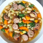 Slow Cooker Sausage, Spinach and Bean Soup