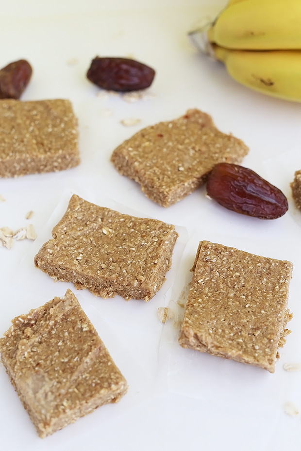 These 4 Ingredient No Bake Banana Bread Bars are an easy and healthy snack bar! They taste like banana bread but are full of healthy ingredients! Vegan / TwoRaspberries.com