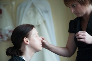 bride having her make up done Stoke on Trent Staffordshire