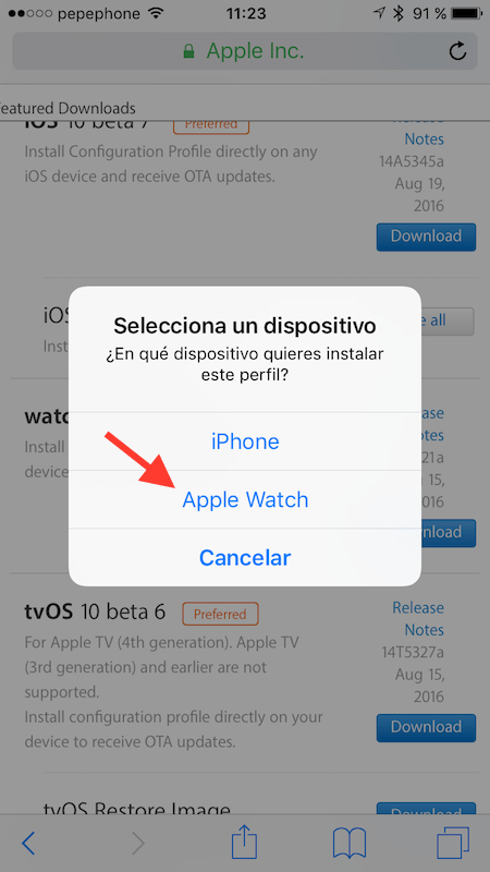 Seleccionar destino de watchOS 3 beta