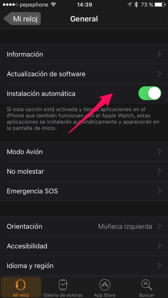activar Instalación automática en Apple Watch