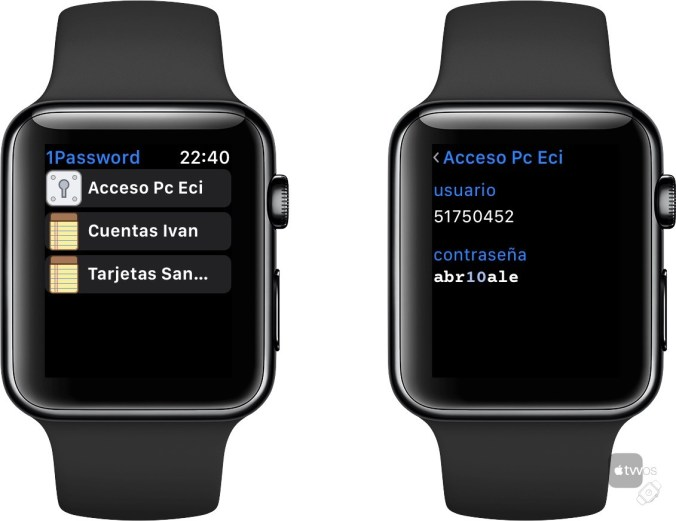 1Password en Apple Watch