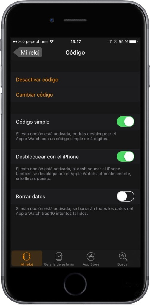 activar codigo de Apple Watch en iPhone