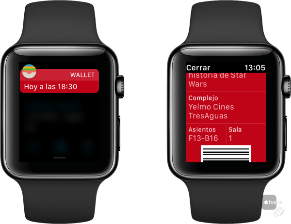 Wallet desde notificación en Apple Watch