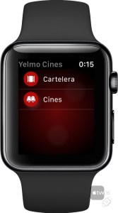 Menu principal de Yelmo Cines en Apple Watch