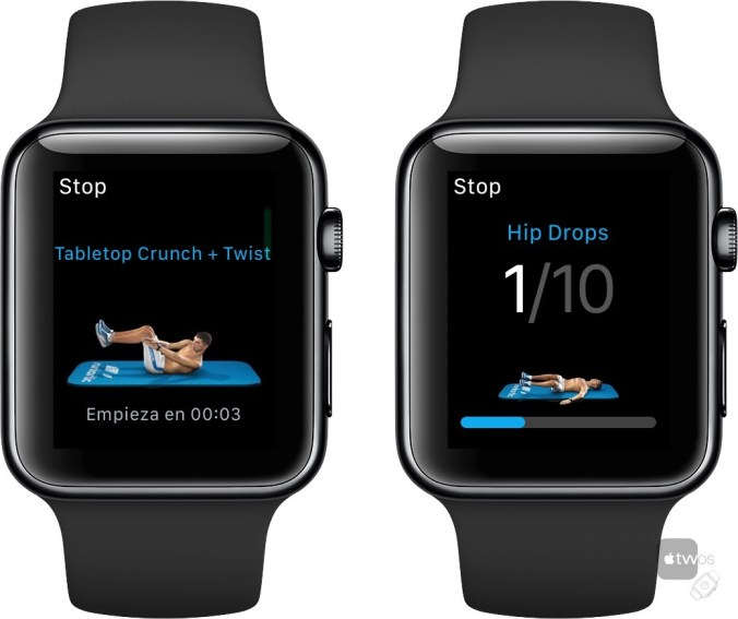 Realizando entrenamiento de Six Pack en el Apple Watch
