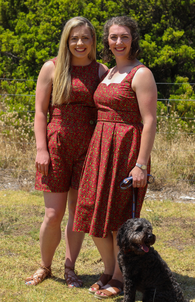 Ritchie Family Christmas Outfits Erin is wearing Megan Neilsen Flint Pants with bodice of simplicity 1610 and Luaren is wearing Gertie's Butterick 6556