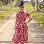 Minerva Red Fabric - Two Sewing Sisters Butterick 6410 and Vogue 9075 with Lauren J Ritchie Hat