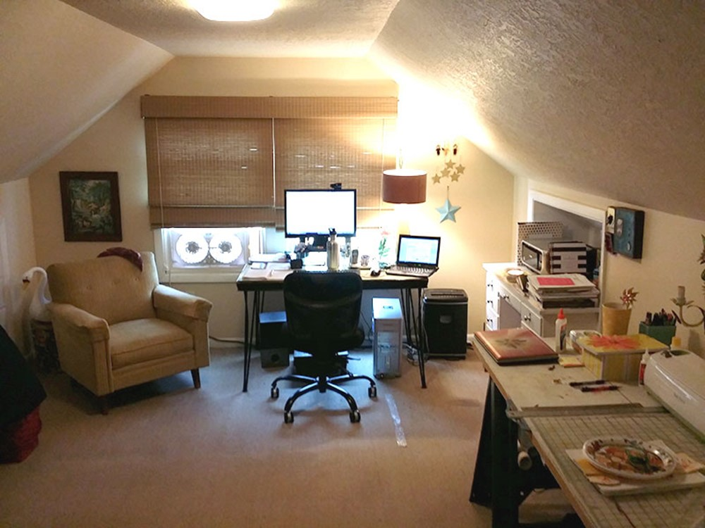 Home Office Area Before Craft Studio and Home Office Remodel