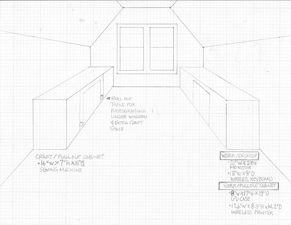 Interior Elevation Sketch of New Craft Studio and Home Office