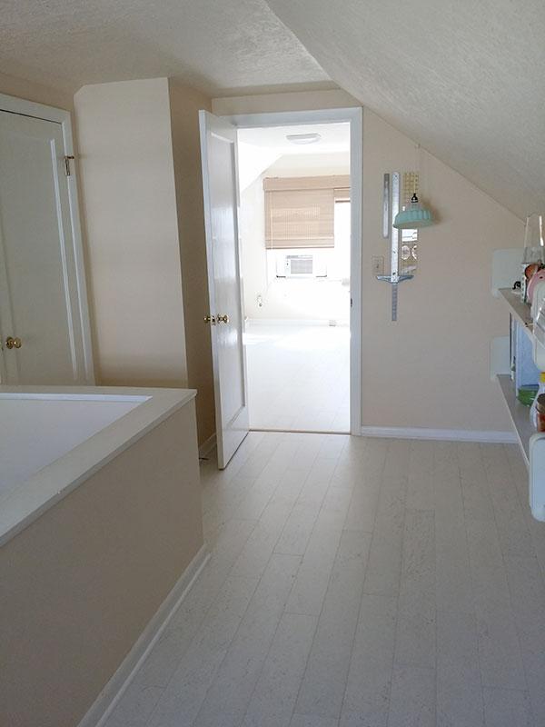 Planked White Cork Flooring Chosen for the Craft Studio & Home Office Remodel