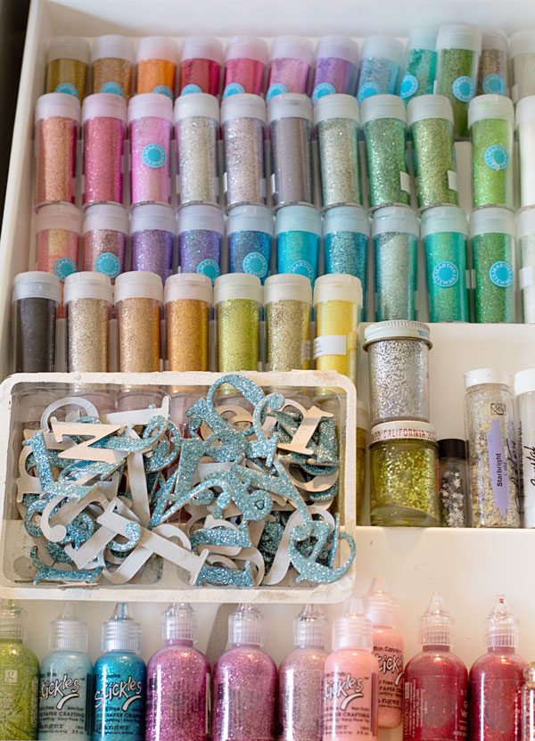 Craft Studio and Home Office Reveal - Glitter Drawer