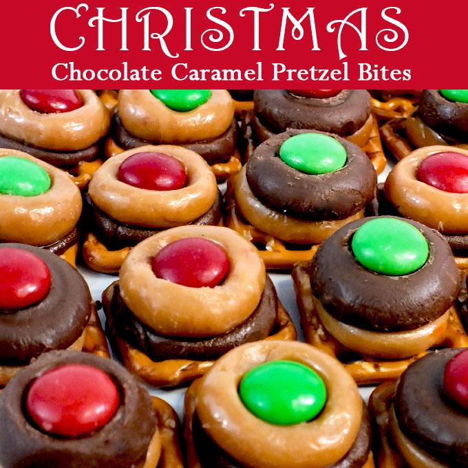 Christmas Chocolate Caramel Pretzel Bites