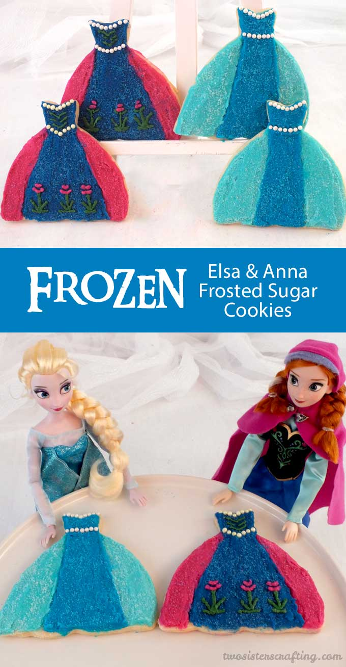 Elsa  Anna Frosted Sugar Cookies  Two Sisters Crafting
