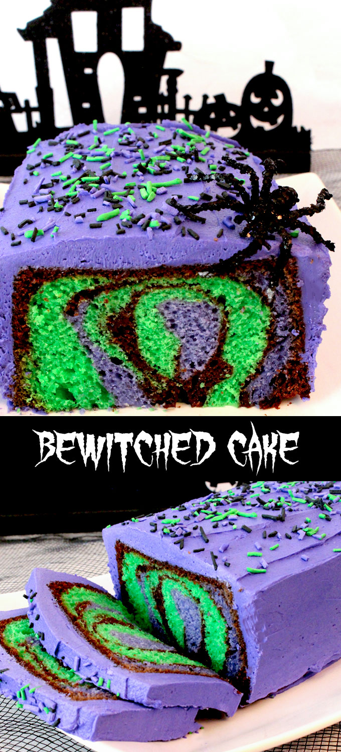 Our Bewitched Cake for Halloween is a beautiful and colorful Halloween Dessert that is easy to make and will make a big impact at your Halloween party. Your family or party guests will be amazed when you cut open this cake and display the amazing Halloween themed marbled cake! Follow us for more fun Halloween Food Ideas.