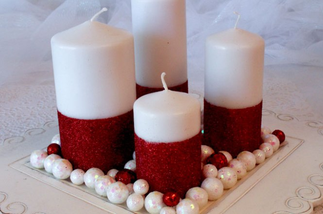 Glam Up A Christmas Candle With Glitter