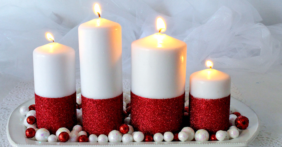 Glitter Candles  Easy DIY Christmas Decorations  Two Sisters