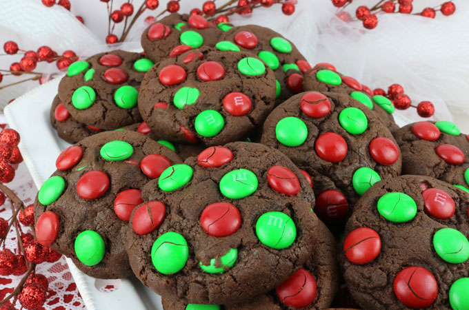 Chocolate MampM Christmas Cookies Two Sisters