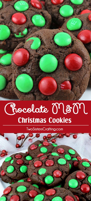 Chocolate MM Christmas Cookies  Two Sisters