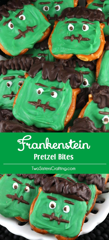 Frankenstein Pretzel Bites Two Sisters