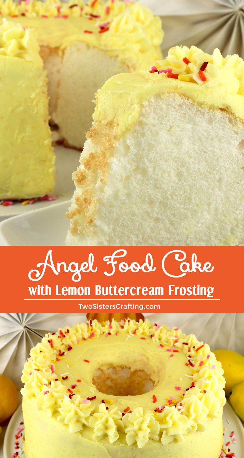 Angel Food Cake With Lemon Buttercream Frosting Two Sisters