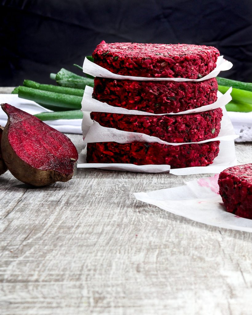 Delicious vegan Red Beet, White Bean &Quinoa Burger