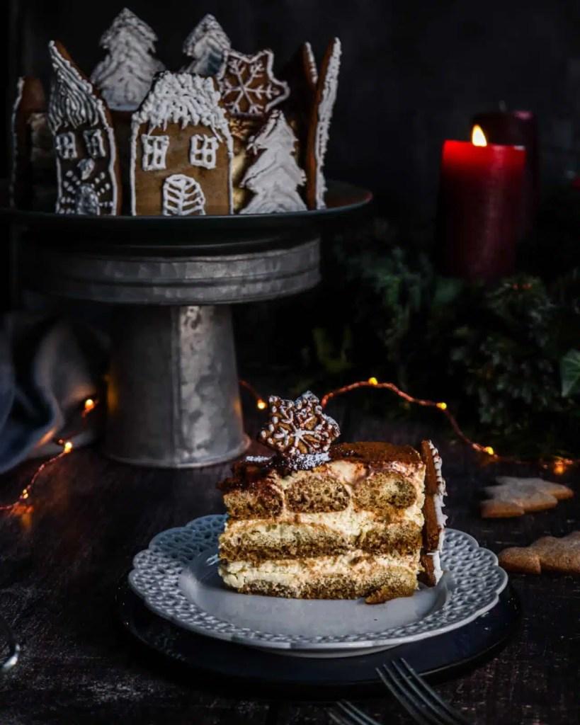 italian tiramisu , christmas-y decorated